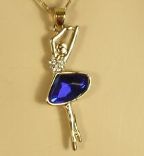 Gold Blue Crystal Ballerina Ballet Dancer Pendant 15 1/2 in. Necklace 18kgp