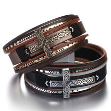 "7.48"" Mens Bohemian Cross Multi-layer Leather Bangle Wrap Bracelet Chain Jewelry"