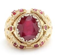 13.29 Carat Natural Red Ruby and Diamonds in 14K Solid Yellow Gold Men's Ring