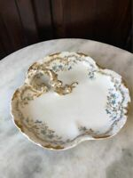 Vintage William Guerin Limoges Hand Painted Tidbit Plate, Gold with Blue Flowers
