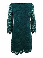 Jessica Howard Women's Petite Bell-Sleeve Lace Dress (4P, Navy/Green)