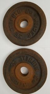 """2 Old Rusty Weider 3 lb Standard Weight Plate 1"""" Middle"""