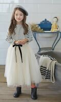 NWT Girl size 4 Tulle Overlay Elastic Waist Long Skirt & Striped Pullover OUTFIT
