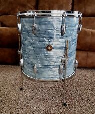 """GRETSCH Midnight Blue Pearl Vintage 60's Round Badge 16"""" Floor Tom"""
