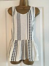 NEXT White Navy Blue Embroidered Flower Peplum Vest Top Size 14
