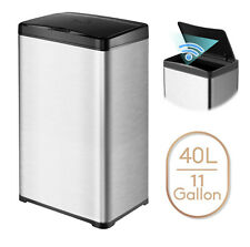 11 Gallon Trash Can Stainless Steel Touchless Motion Sensor Soft Close Lid 40L