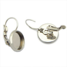Stainless Steel Leverback Ear Wire Round Bezel Blank Cabochon Setting Tray Base
