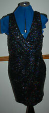 NEW Sz M Oasis Black Iridescent Wrap Bust Wiggle Party Lined Dress