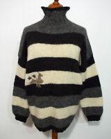 Strick Rollkragen Pullover Grösse X Herren Wolle Handarbeit K232