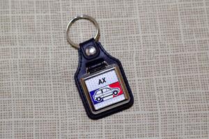 Citroen AX Keyring - Leatherette and Chrome Keyfob