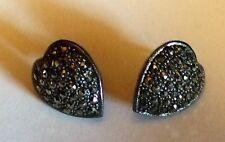 Sterling Heart Earrings Pierced Heart Earrings Marcasites 1980's Vintage Unused