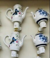 Blue Floral Tea Pot Plug-In Night Light Porcelain, brand new