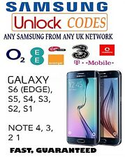 UNLOCK CODE SAMSUNG GALAXY S7 S6 S6 EDGE PLUS S5 S4 MINI NOTE 4 3 VODAFONE EE O2
