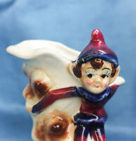 "Vintage Pixie Elf Ceramic Bud Vase Burgundy Blue 4 ½""x 3"" x 3"" Japan"