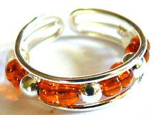 BAGUE DE PIED/ORTEIL METAL ANNEAU TOE RING ANILLO DE PIE STRASS perles orange
