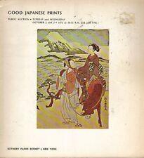 SOTHEBY'S JAPANESE PRINTS Harunobu Hiroshige Hokusai Shunko Shunsho Toyokuni Cat