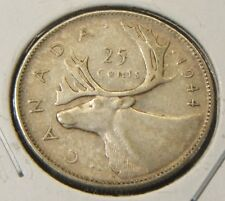 1944~~CANADA~~25 CENTS~~SILVER~~VF+ SCARCE COIN