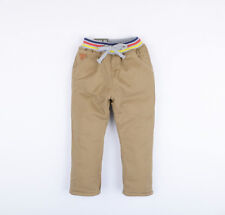 Kids Boys Winter Casual Cotton Padded Trouses Pants Elastic Waist Blue Beige