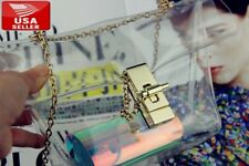 Beautiful Fashionable Clear PVC Purse with Golden Chain and Elegant Closure