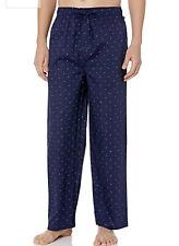 Tommy Hilfiger Men's Poplin Woven Drawstring Pyjama Pant In Navy Blue Logo Print