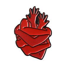 Brooch Anatomy Art Badge Funny Gift Anatomical Heart Enamel Pin Hands Hug Button