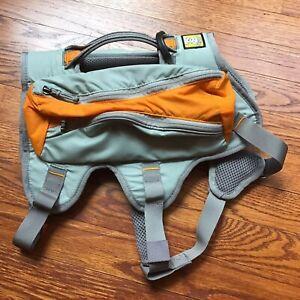 Ruffwear Singletrak Small Dog Hydration Pack Harness Gray & Orange Size S