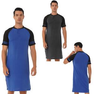 Mens Cotton Nightshirt Pull-over Nightwear Short Sleeve Round Neck Loose Pajamas