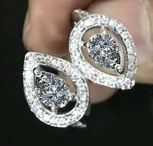 3.22 Ct D-h Color Vvs1 WHITE PEAR CUT SIMULATED DIAMOND 925 SILVER Wedding RING