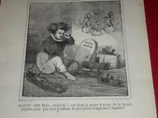 CHAM / LITHOGRAPHIE ORIGINALE CHARIVARI 1864 / ACTUALITES 123 Petit John Bull
