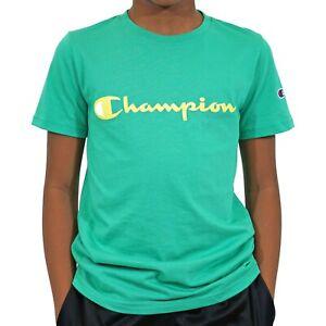 Champion Boys Heritage Short Sleeve Cotton Logo T-Shirt (Green Myth, X-Small XS)
