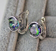 18K White Gold Filled - 8mm MYSTICAL Rainbow Topaz Simple Round Women Earrings