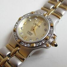 CROTON Watch Gold gp Stainless Steel DIAMOND quartz Dial