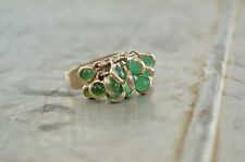 Cluster Dangle Ring Sterling Silver and Green Semi Precious Stones