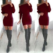 Winter Damenkleid Mini Langarm Partykleid Abend Stretchkleid Kleider Gr.36-44