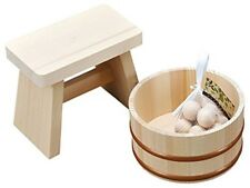 Japanese Bath Wooden Stool Washbowl Pail Natural Wood Onsen Spa Set Hinoki New