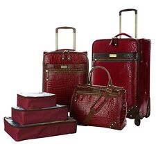 "Samantha Brown 6-piece Classic Luggage Set 21"" & 25"" Dowel & Cubes Burgundy New"