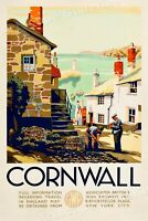 1930s Cornwall England - Vintage Style UK Travel Poster - 16x24