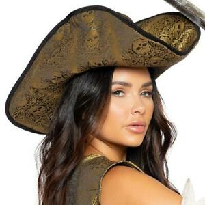 Gold Skull Pirate Hat Deluxe Black Trim Soft Padded Curled Sides Costume 4981