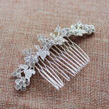 "3.5""big CRYSTAL HAIR COMB silver rhinestone bridal FLOWER LEAVES ornate vintage"