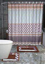 Olivia 15-Piece Bathroom Accessories Set Rugs Shower Curtain Bath - Brown & Blue