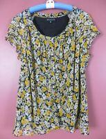 TB08757-JONES NEW YORK Women's 100% Silk Blouse Cap Sleeve Multicolor Floral 18W