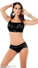 ZX 2081 Black Metallic Bikini Halter Sexy LINGERIE Club GoGo Dancer Rave L XL