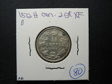 "1872 H 25 Cent Coin Canada Queen Victoria .925 Silver ""Large 2"" EF Grade"