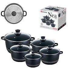 SQ Pro Nea Induction Black Nera 5pc NonStick Ceramic Aluminium Die-Cast Casserol