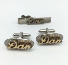Tone Cufflinks Tie Bar Clip Set Vintage Swank Script Name Dan Silver Gold