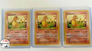 (3) 1999 Pokemon Shadowless Charmander Base Set #46 Lot/Bundle