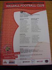 13/12/2011 Colour Teamsheet: Walsall v Dagenham And Redbridge [FA Cup] (folded).