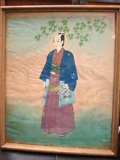 MID CENTURY JAPANESEE SAMURAI Original Watercolor/pastel/Ink- Brush Painting
