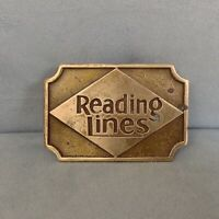 Vintage Reading Railroad Lines Logo Solid Brass Belt Buckle Train Image on Back