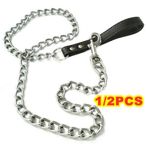 2 Heavy Duty Metal Chain Dog Lead with Leather Style Handle Strong Control Leash